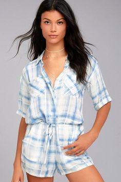 #NewYear #Lulus - #Lulus Maura Blue Print Romper - Lulus - AdoreWe.com