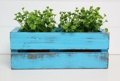 Simple DIY Planter Boxes made from crates found at local craft store or thrift store Wood Crate Diy, Wood Crates, Wood Pallets, Diy Planter Box, Diy Planters, Crate Storage, Cd Storage, Diy Craft Projects, Diy Crafts