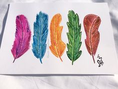 Watercolor painting original colorful feather pink by RSwatercolor