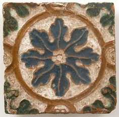 Glazed earthenware tile, Spain, 16th c.