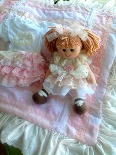 Luxurious Baby girl Vintage Lace embellished l by Babybonbons, $152.00