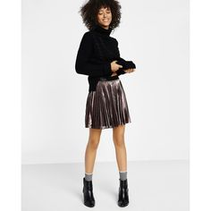 Express Metallic Pleated Mini Skirt ($40) ❤ liked on Polyvore featuring skirts, mini skirts, gold, pleated skirts, pleated miniskirt, metallic skirt, elastic waist mini skirt and metallic pleated skirt