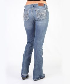 Light Stone Galactic Trellis Mid-Rise Bootcut Jeans by Adiktd #zulily #zulilyfinds