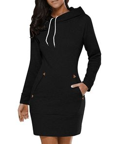 8a1925c54f1 BUIBIU Women s Long Sleeve Cotton Slim Fit Midi Hoodie Dress