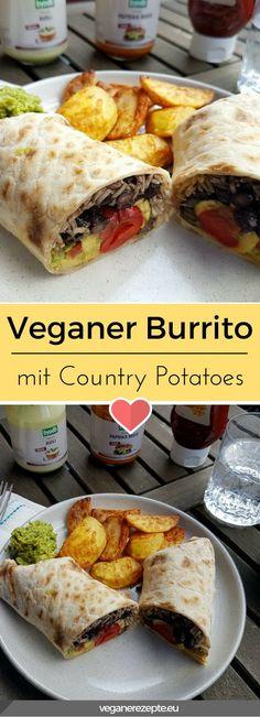 Anzeige/Werbung: Veganer Burrito mit leckeren Saucen von Byodo Naturkost. #Byodo #BiovomFeinsten #vegan #burrito #potatoes Vegan Sauces, Raw Vegan Recipes, Veggie Recipes, Lunch Recipes, Vegetarian Recipes, Vegan Food, Vegan Burrito, Vegan Meal Plans, Vegan Main Dishes