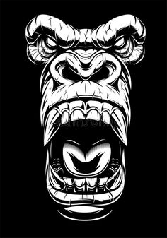 Tattoo Sketches, Tattoo Drawings, Drawing Sketches, Art Drawings, Tattoo Sleeve Designs, Sleeve Tattoos, T Shirt Art, Gorilla Tattoo, Monkey Tattoos