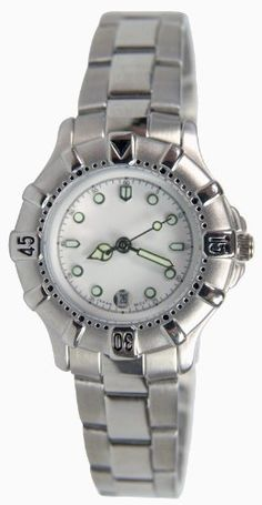 Women's Silver-Tone Round Luminous Markers and Hands Date Bracelet Watch # 5454S Pedre. $19.95. Scratch resistant mineral crystal. Precision Japanese quartz date movement. Perfect everyday timepiece with round metal case with rotating bezel and steel bracelet. Includes gift box and lifetime limited warranty. White ceramic dial with luminous marlers and hands