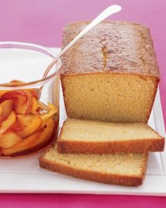 Cornmeal Loaf Cake With Nectarines - Martha Stewart Recipes Nectarine Dessert, Nectarine Recipes, Mamma Mia, Cake Recipes, Dessert Recipes, Snacks Recipes, Healthy Recipes, Drink Recipes, Baking Recipes