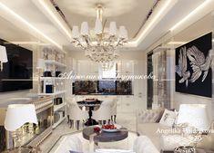 Дизайн-проект интерьера гостиной в стиле ар-деко в ЖК Лица. Фото 2018