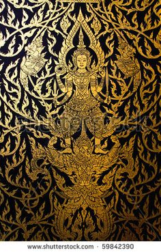 Thai STraditional Style Door Painting - Gold painting - Google Search & god ride swans in traditional Thai style art painting on window of ...