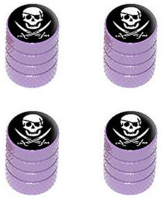 """Amazon.com : (4 Count) Cool and Custom """"Diamond Etching Pirate Skull Top with Easy Grip Texture"""" Tire Wheel Rim Air Valve Stem Dust Cap Seal Made of Genuine Anodized Aluminum Metal {Pretty BMW Purple and Black Colors - Hard Metal Internal Threads for Easy Application - Rust Proof - Fits For Most Cars, Trucks, SUV, RV, ATV, UTV, Motorcycle, Bicycles} : Sports & Outdoors"""