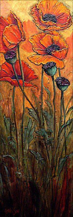 drawing out a basic sketch of flowers on canvas,mixed together equal amounts of acrylic heavy gel and acrylic modeling paste. Then, following the lines drawn, sculpt the petals, flower centers, and leaves with a small palette knife.