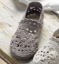 """crocheted slippers- Modèle espadrilles """"dentelle"""" femme - Modèles Accessoires - Phildar"""