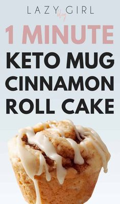 1 Minute Keto Mug Cinnamon Roll Cake This keto mug cake recipe is truly one of the best recipes for keto. A single serving cinnamon roll mug cake that cooks in the microwave. It is also paleo, gluten free and wheat free.s so easy perfect for when t Low Carb Cake, Low Carb Cookies, Low Carb Keto, Low Carb Recipes, Keto Fat, Lemon Cookies, Chip Cookies, Healthy Recipes, Keto Desserts