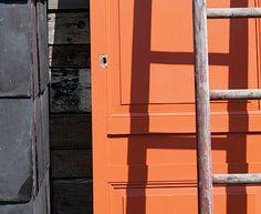 orange front door - farrow  Ball's Charlotte's Locks