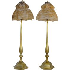 Until recently, this fine pair of lamps were on the small square side shelves of a ca. 1790 French Provincial Hall Tree which I resuscitated and