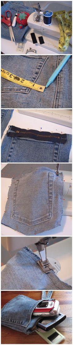 Protect the Tech - jean pocket purse