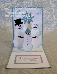 snow family pop-up punch art card