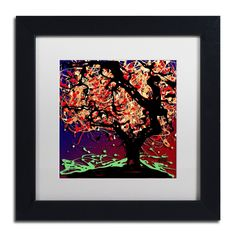 Fall Red Tree by Roderick Stevens Matted Framed Painting Print
