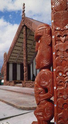 Maori Meeting House in Rotorua - NZ Polynesian Islands, Polynesian Art, Rotorua New Zealand, New Zealand Adventure, New Zealand Travel Guide, New Zealand Houses, Maori Art, Kiwiana, Bone Carving