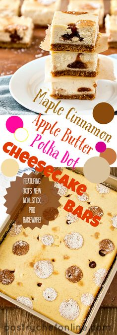 These Maple Cinnamon Apple Butter Cheesecake Bars are full of fall flavors in every bite. They are also (practically) refined-sugar free. This cheesecake bar recipe is sure to please and can be cut into the perfect size for people who don't want a huge wedge of cheesecake for dessert! This is also my post for #OXOGoodCookies for Cookies for Kids' Cancer. Plus, get to know their new line of Non-Stick Pro Bakeware. | pastrychefonline.com