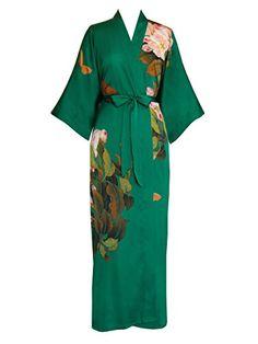 Old Shanghai Women's Kimono Robe - Printed (Long), peony butterfly- emerald Kimono Fashion, Boho Fashion, Fashion Outfits, Style Bobo Chic, African Blouses, Peignoir, Pretty Lingerie, Colorful Fashion, Curvy Fashion