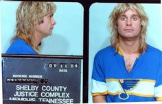 This young, blonde Ozzy Osbourne was arrested in 1984.  Some sources say it was for public intoxication, but others say for indecency because he urinated near a public monument.
