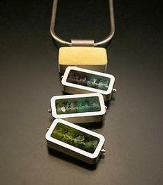 Dancing Rectangles Necklace - Blue and Green: Ashka Dymel: Silver, Gold & Stone Necklace   Artful Home