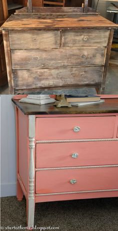 refinished coral vanity