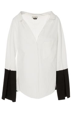Bessette Ecru Collar Off the Shoulder Shirt by HELLESSY Now Available on Moda Operandi