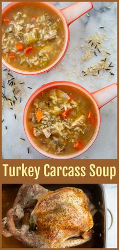 of the best ways to use up your holiday leftovers is to make a turkey carcass soup when you are done with your roast turkey. This is a great waste not, want not recipe to make sure you are making the most out of your food! Chicken Carcass Soup, Turkey Soup From Carcass, Turkey Rice Soup, Homemade Turkey Soup, Leftover Turkey Soup, Best Turkey Soup Recipe Crock Pot, Turkey Soup From Leftovers, Easy Turkey Soup, Slow Cooker Turkey Soup