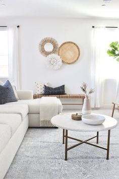 coastal living rooms Needing a little home update with extra attention to your home+life needs? Check out our Post Place project living room with modern coastal decor and an airy white couch and walls. Coastal Living Rooms, Living Room Modern, My Living Room, Home And Living, Living Room Designs, Living Room Wall Decor, White Couch Living Room, White Living Room Furniture, Minimalist Living Rooms