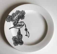 Lace Birdy hand illustrated side plate