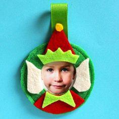 Felt Elf Photo Ornament