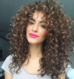 50 Smokin Hot Long Curly Hairstyles Casual waves by Sarah Angius 3a Curly Hair, Curly Hair Styles, Curly Hair With Bangs, Hairstyles With Bangs, Natural Hair Styles, Frizzy Hair, Kinky Hair, Brown Curly Hair, Layered Hairstyles