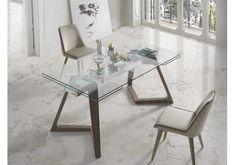 Precio mesa comedor de diseño patas madera encimera de cristal  Nil Nacher, roble, haya, nogal, extensible