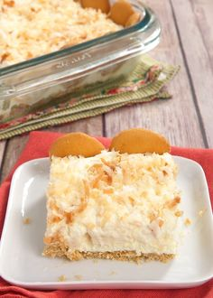 Delicious layers of cream cheese, pudding, vanilla wafers, and toasted coconut make these no-bake Coconut Cream Pie Bars irresistible!