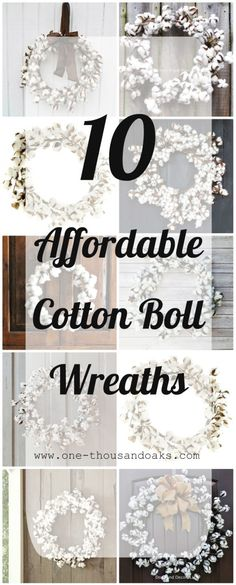 10 Affordable Cotton Boll Wreaths - One Thousand Oaks