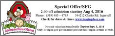 Ontario Coupon for Resorts, Events, Things to Do Ontario Attractions, Adventure Farm, Enjoy Your Vacation, Coupons, Deer, Things To Do, Marketing, Things To Make, Coupon