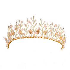 Floristic Crystal & Pearl Handmade Tiara Crown Hair Jewelry Summer Bridal Hair Accessories Best Head Piece Hair Pins Wholesale