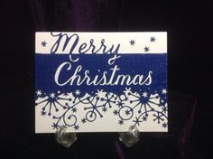Blue Christmas Collection. Memory Box Merry Christmas and Frostyville Border dies