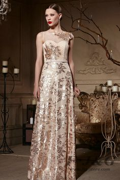 2014 Gold Hollow Beading Sweetheart Prom Dress 81968