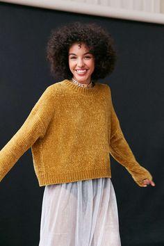 Silence + Noise Mustard Velvet Chenille Pullover Sweater - UO