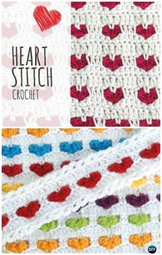 Crochet Gift Ideas Crochet Heart Stitch Blanket Free Pattern - Crochet Valentine Heart Gift Ideas Free Patterns - Crochet Valentine Heart Gift Ideas Projects Free Patterns: The list covers love hat, scarf, heart tops, jewelry, blankets and table runner. Crochet Gifts, Crochet Baby, Free Crochet, Crochet Stitches Patterns, Stitch Patterns, Crochet Heart Blanket, Manta Crochet, Crochet Projects, Pattern Ideas