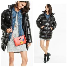NEW Warm Jacket Women's Express Long Down Puffer Coat S Small Black $248 Parka  | eBay