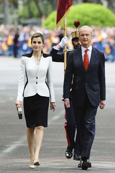 Royals & Fashion - King Felipe and Queen Letizia attended the annual Armed Forces Day in Madrid. After the parade, a reception was held at the Royal Palace.