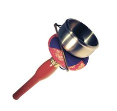 """Traditional Inkin This traditional instrument is used in meditation halls to mark the beginning and end of periods of silent sitting. Bright and centering sound that beautifully counterpoints the stillness of the zendo. Inkin can also be used in a variety of liturgical settings. Wooden red lacquered handle 12""""."""