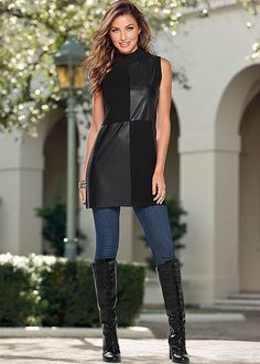 Street style, achieved. Venus faux leather detail sweater with Venus slimming stretch jeggings and Venus lace up tall boot.