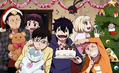 Anime picture 2336x1442 with ao no exorcist okumura rin okumura yukio shiemi moriyama shima renzou kamiki izumo suguro ry...