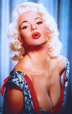 """JAYNE MANSFIELD blows you a kiss. Busty 1950's blonde bombshell. Movie star. """"I have always considered my career self and my personal self as two different and separate people. There's a Jayne Mansfield at home, a wife and devoted mother, and there's Jayne the sex symbol, which is my career. I have always kept them completely apart and separate."""" Jayne Mansfield (please follow minkshmink on pinterest) #jaynemansfield #busty #fifties #sexsymbol"""